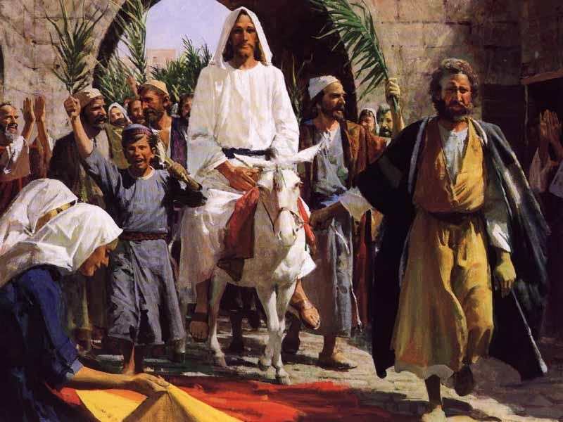 Jesus rides to Jerusalem on a donkey.jpg